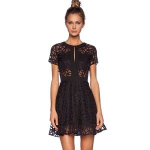 NTW Lucca Couture Sheer Panel Dress in Black SM